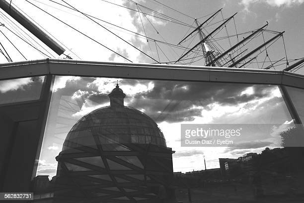 Low Angle View Of Dome Reflection On Glass Of The Cutty Sark
