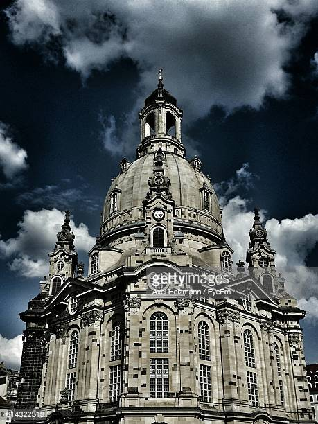 Low Angle View Of Dresden Frauenkirche Against Cloudy Sky