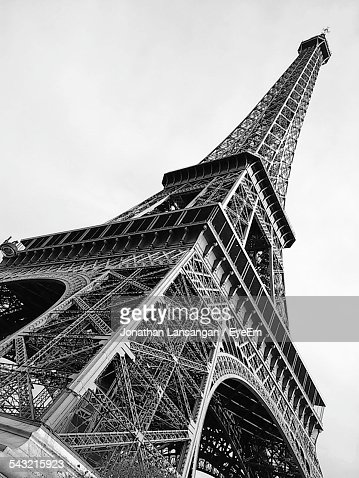 Low Angle View Of Eiffel Tower Against Clear Sky