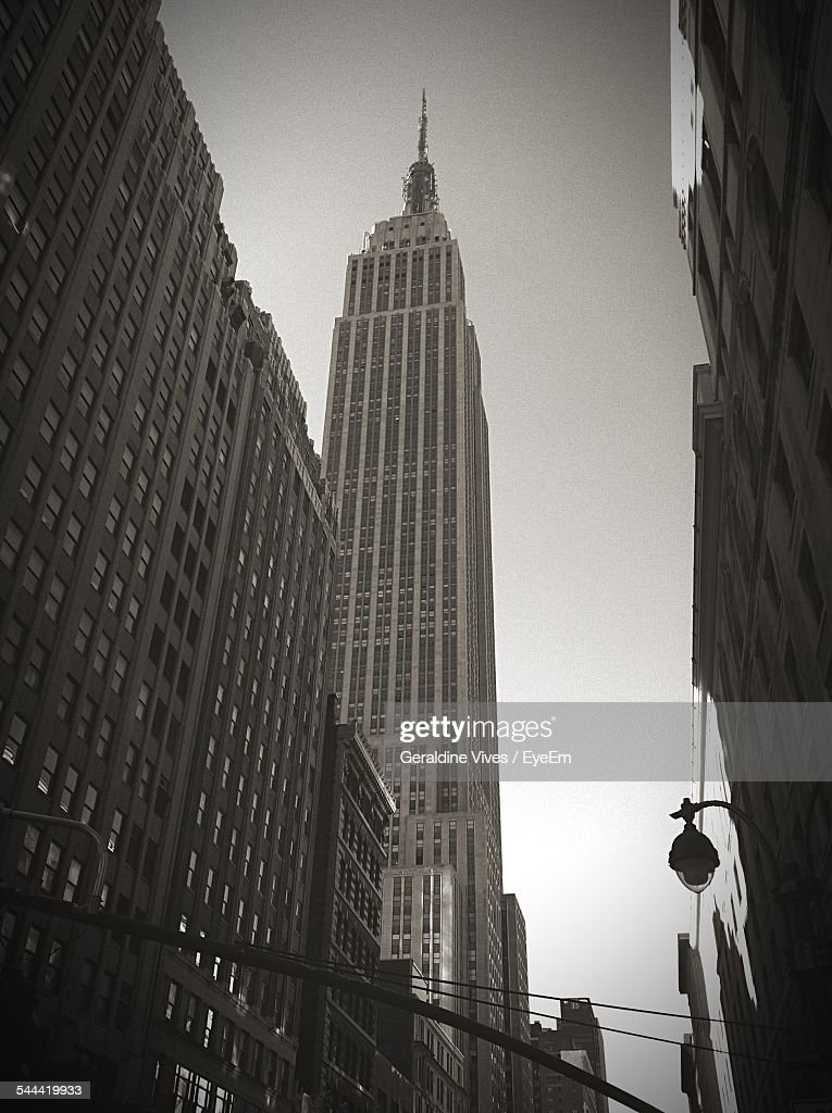 Low Angle View Of Empire State Building Against Clear Sky