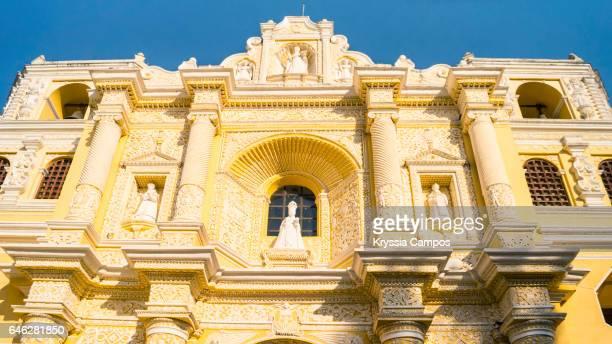 Low angle view of facade at Colonial church of Nuestra Señora de la Merced, Antigua, Guatemala