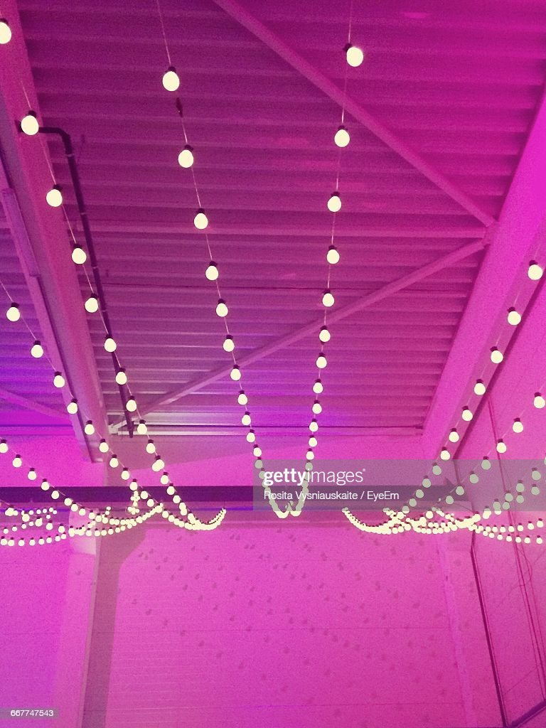 low angle view of fairy lights at ceiling