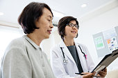 Low angle view of female doctor and senior patient