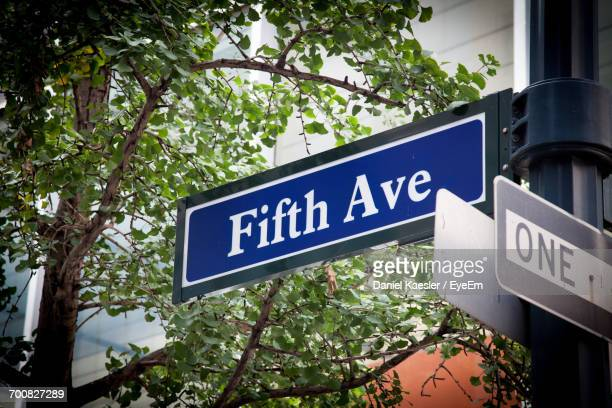 Low Angle View Of Fifth Avenue Sign On Pole