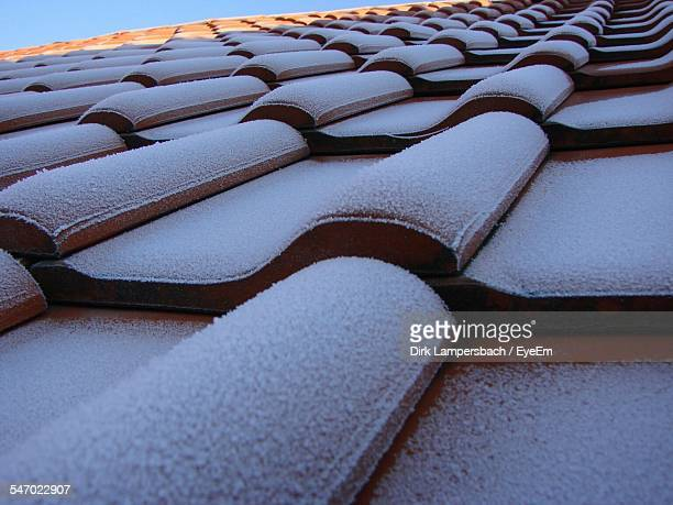Low Angle View Of Frosted Roof Tiles