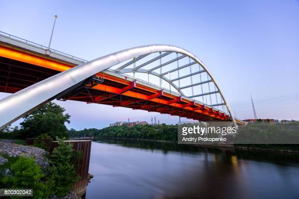 Low Angle View of Gateway Boulevard Bridge in Nashville at Dusk, Tennessee, USA