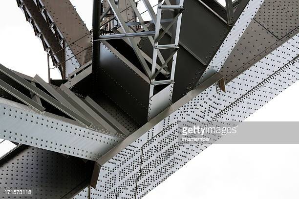 Low angle view of gigantic steel sturcture under the bridge