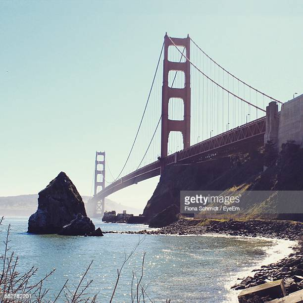 Low Angle View Of Golden Gate Bridge Over San Francisco Bay