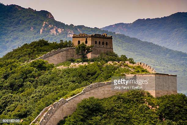 Low Angle View Of Great Wall Of China On Mountain