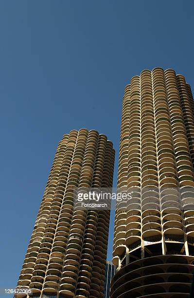 Low angle view of high rise buildings in Chicago