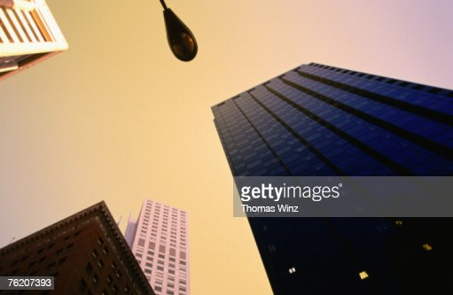 Low angle view of high-rise buildings, financial district, San Francisco, California, United States of America, North America : Stock Photo