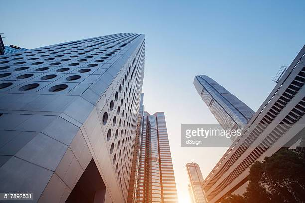 Low angle view of highrise commercial buildings