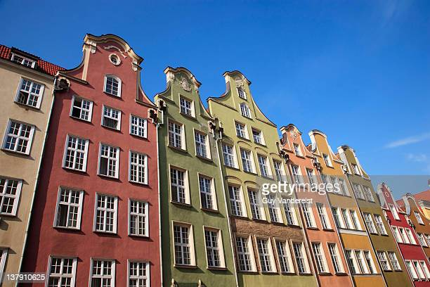 Low angle view of historic houses in Gdansk.