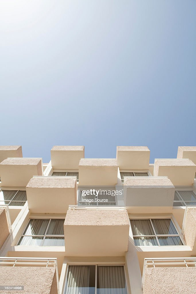 Low angle view of holiday apartments : Stock Photo
