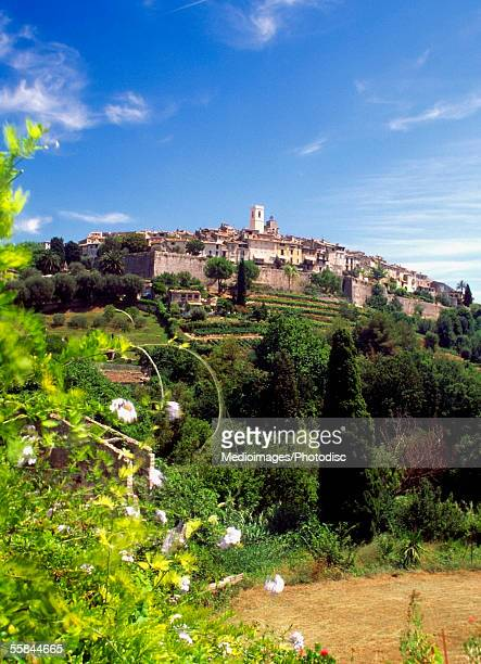 Low angle view of houses on a hill, St.-Paul-de-Vence, Provence, France