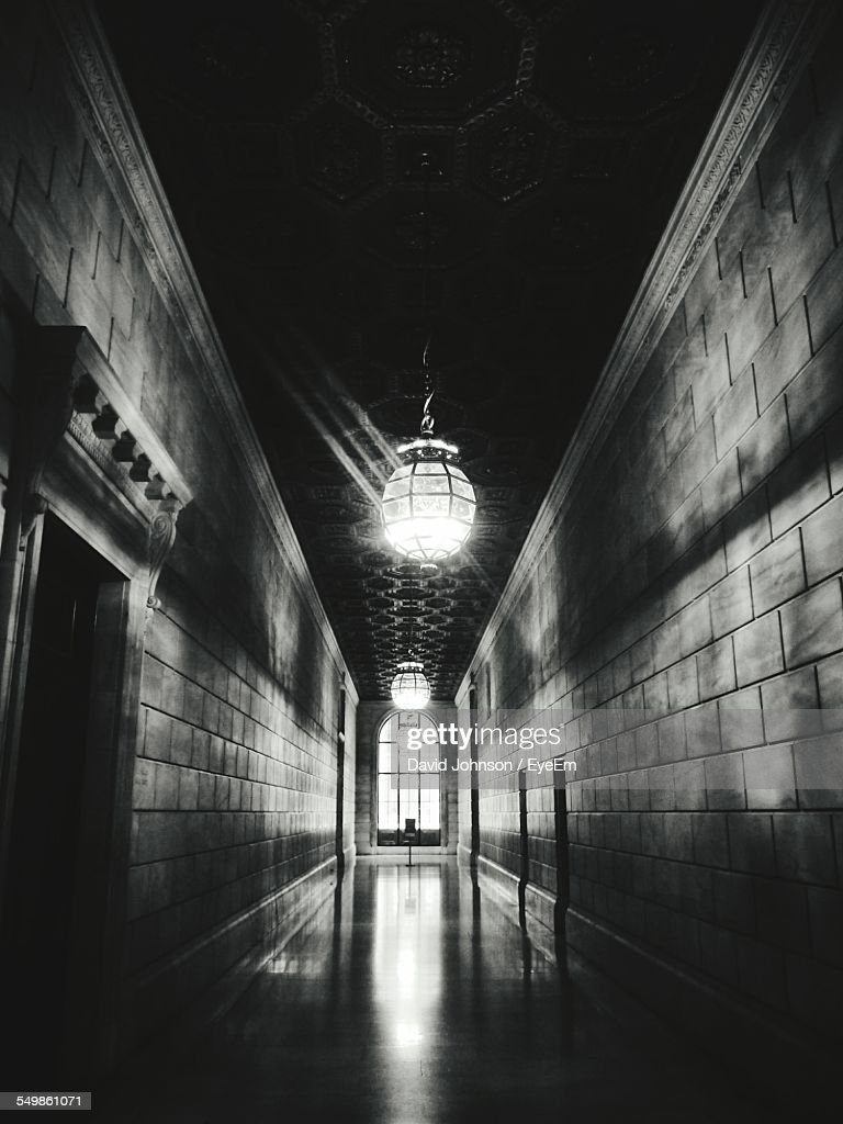 Low Angle View Of Illuminated Chandeliers In New York Public Library