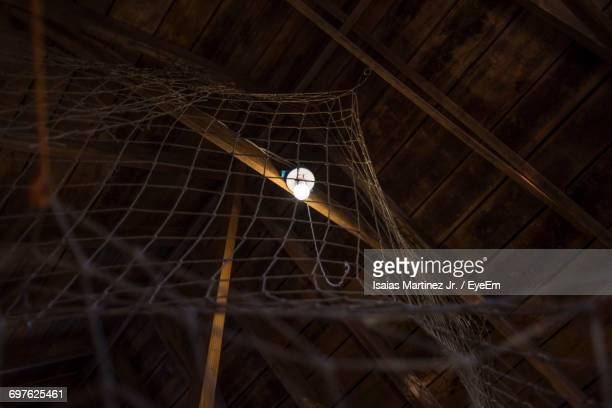 Low Angle View Of Illuminated Electric Bulb By Netting