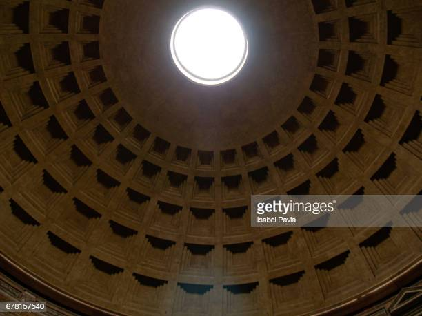 Low Angle View Of Illuminated Light On Ceiling In Pantheon Temple, Rome