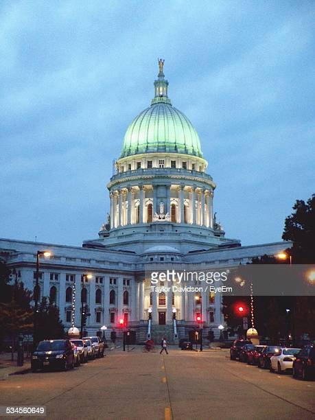 Low Angle View Of Illuminated Wisconsin State Capitol Against Cloudy Sky
