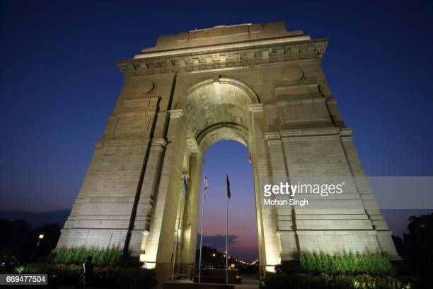 Low angle view of India Gate at dusk, New Delhi