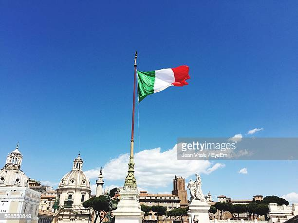 Low Angle View Of Italian Flag On Altare Della Patria