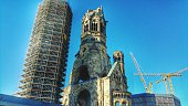 Low Angle View Of Kaiser Wilhelm Memorial Church And Building Against Sky