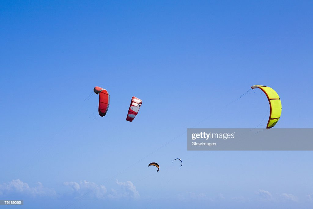 Low angle view of kites in the sky, Smathers Beach, Key West, Florida, USA : Stock Photo