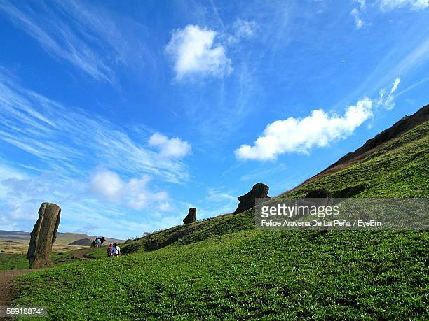 Low angle view of Moai on grassy field against sky