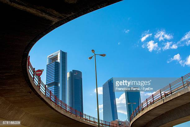 Low Angle View Of Modern Buildings Seen From Bridge Against Blue Sky