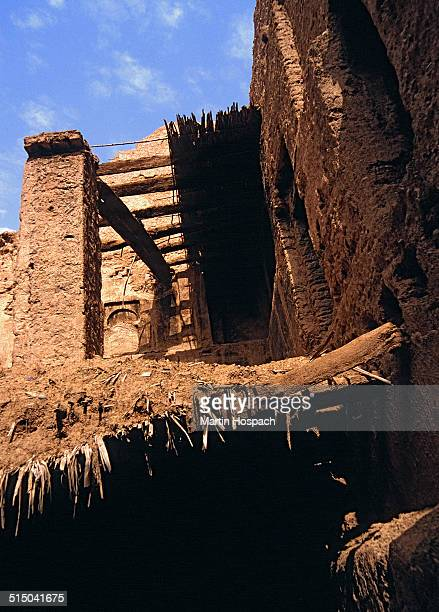 Low angle view of mud hut, Agdz, Morocco