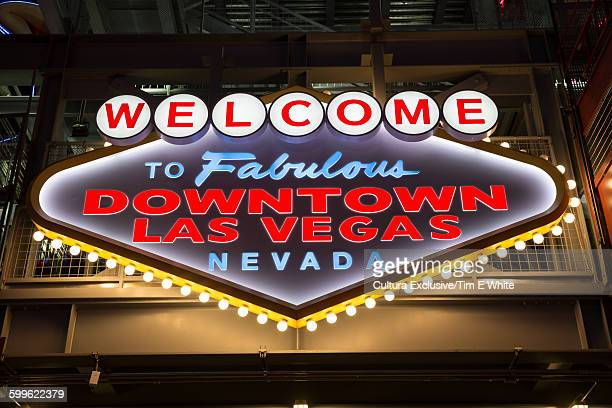 Low angle view of neon welcome sign, downtown Las Vegas, Nevada, USA