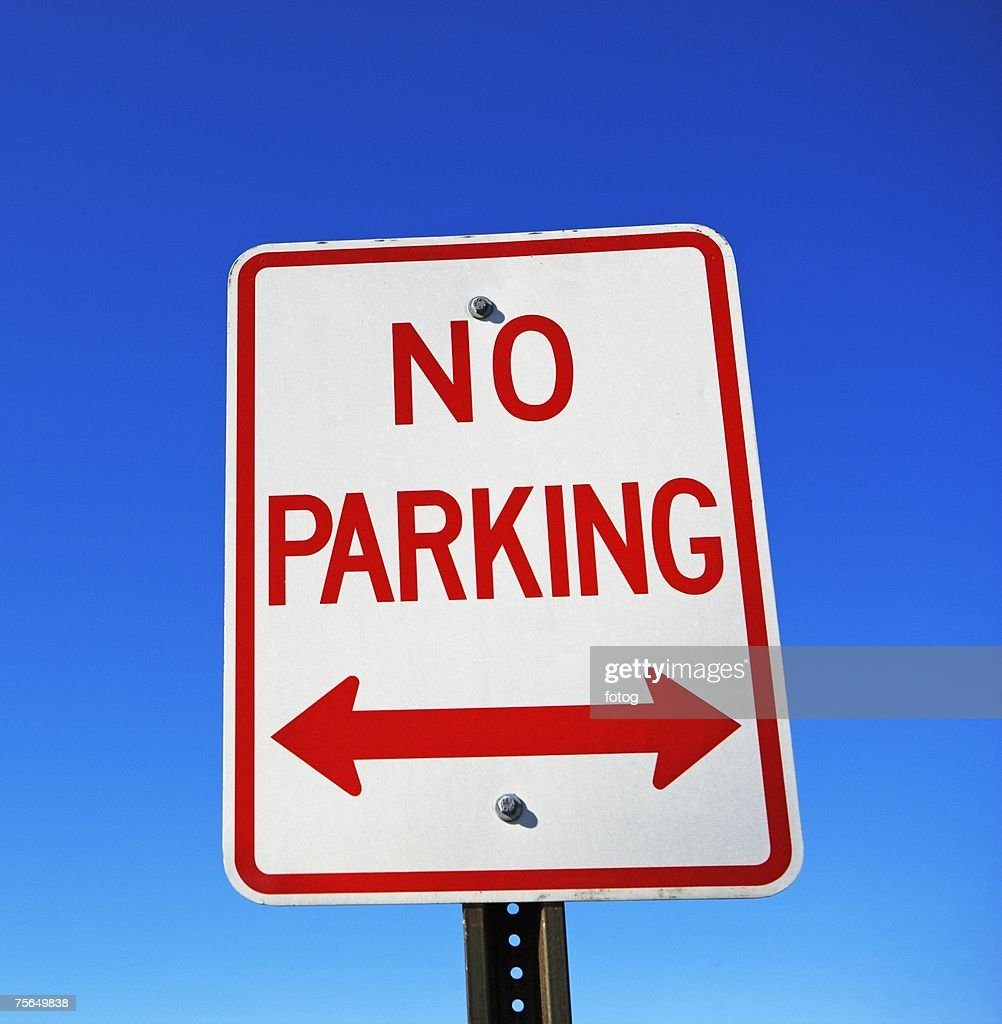 Low angle view of No Parking sign