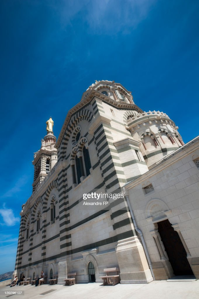 Low angle view of Notre-Dame de la Garde Basilica : Stock Photo