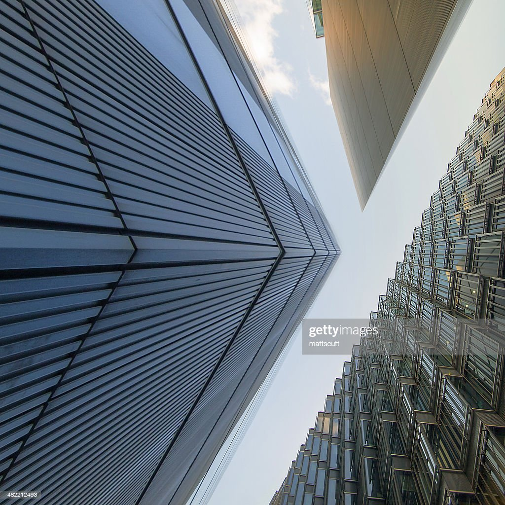 UK, England, London, Low angle view of office buildings : Stock Photo