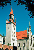 Low angle view of Old City Hall, Viktualienmarkt, Munich, Germany