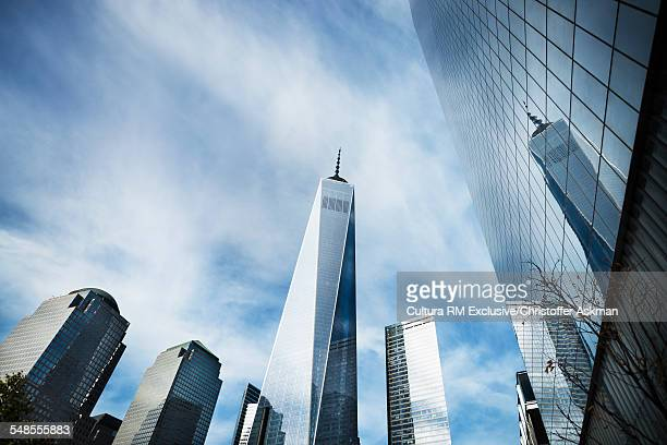 Low angle view of One World Trade Centre, New York, USA