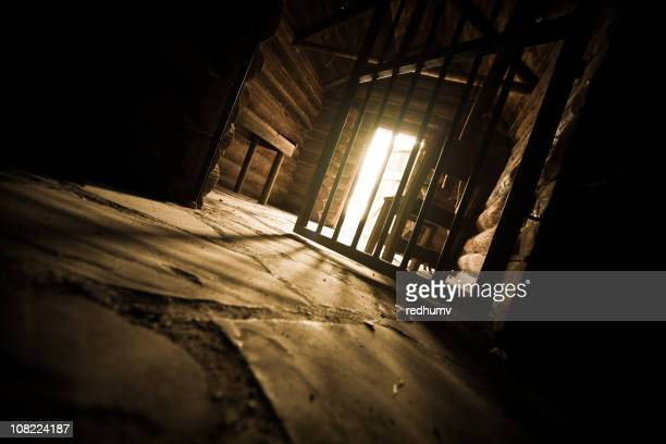 Low angle view of open prison cell