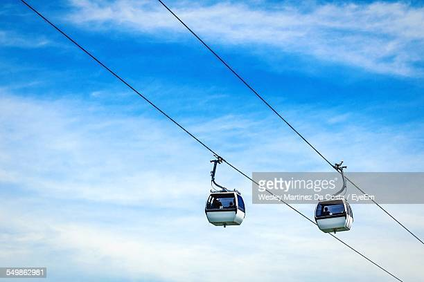 Low Angle View Of Overhead Cable Cars