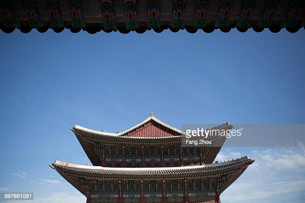 Low angle view of pagoda roof, Korea, Seoul