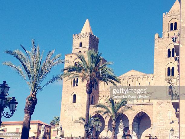 Low Angle View Of Palm Trees And Cathedral Against Clear Sky