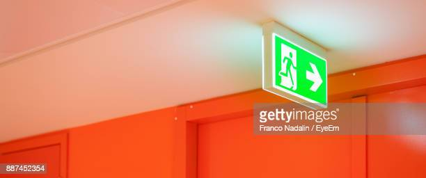 Low Angle View Of Public Restroom Sign