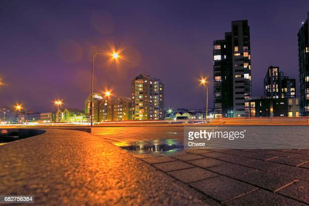 Low Angle View Of Reykjavik City At Night