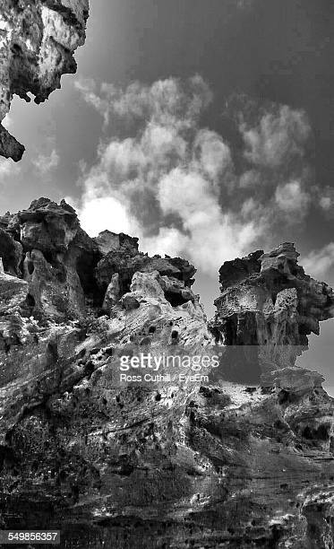 Low Angle View Of Rocky Landscape Against The Sky