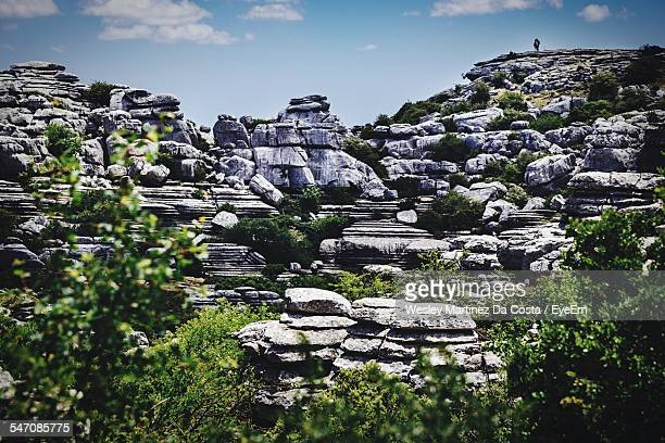 Low Angle View Of Rocky Mountains At El Torcal Nature Reserve