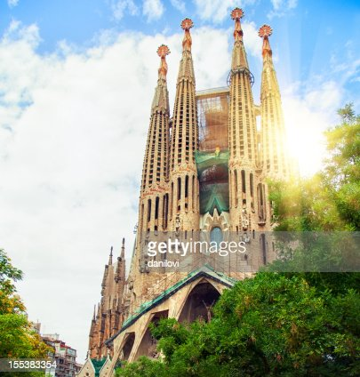 Inquadratura dal basso della Sagrada Familia, Barcellona