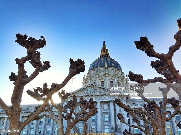 Low angle view of San Francisco City Hall in Civic Center