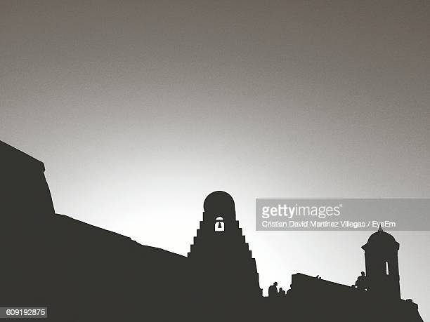 Low Angle View Of Silhouette Castillo San Felipe De Barajas Against Clear Sky