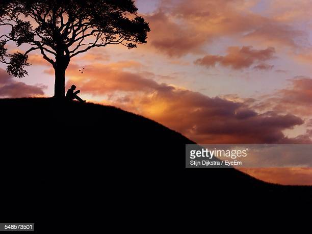 Low Angle View Of Silhouette Man Sitting By Tree On Mountains At Sunset