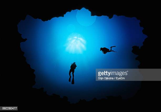 Low Angle View Of Silhouette People Swimming In Sea
