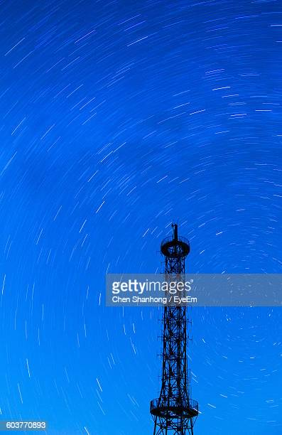 Low Angle View Of Silhouette Tower Against Star Field